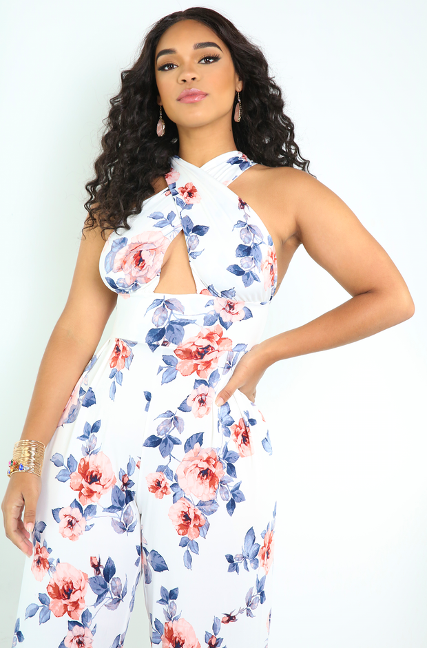 White Floral Crossover Jumpsuit Plus Sizes