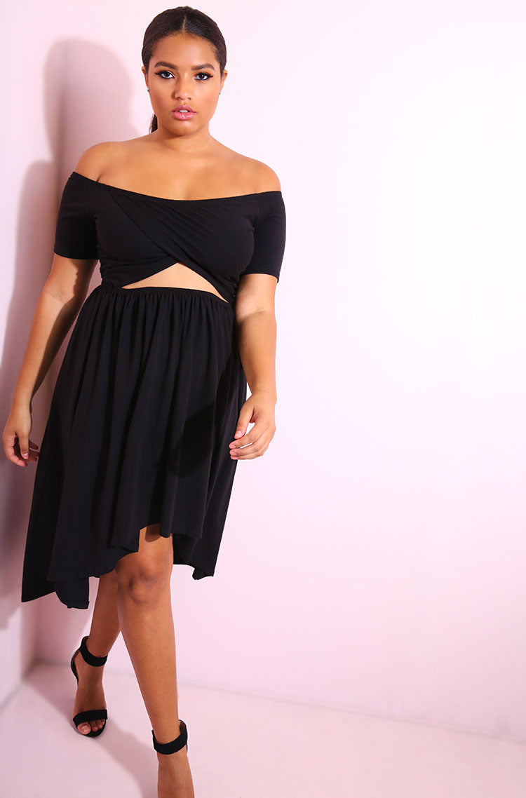Black Cut-Out High-Low Dress plus sizes