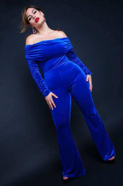 Royal Blue Plus Size Over The Shoulder Wide Leg Jumpsuits