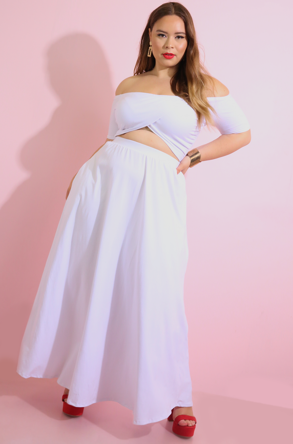 White Cut-Out Maxi Dress With Pockets plus sizes
