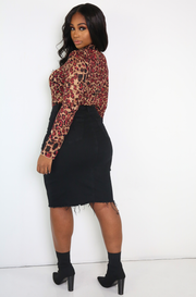 Black High Waist Midi Denim Skirt Plus Sizes