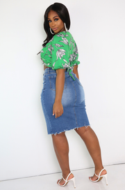 Blue High Waist Midi Denim Skirt Plus Sizes