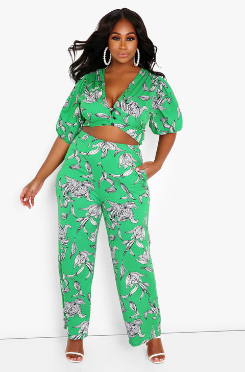 Green Puff Sleeve Floral Crop Top Plus Sizes