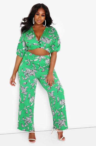 Green Floral High Waist Wide Leg Pants w. Pockets Plus Sizes
