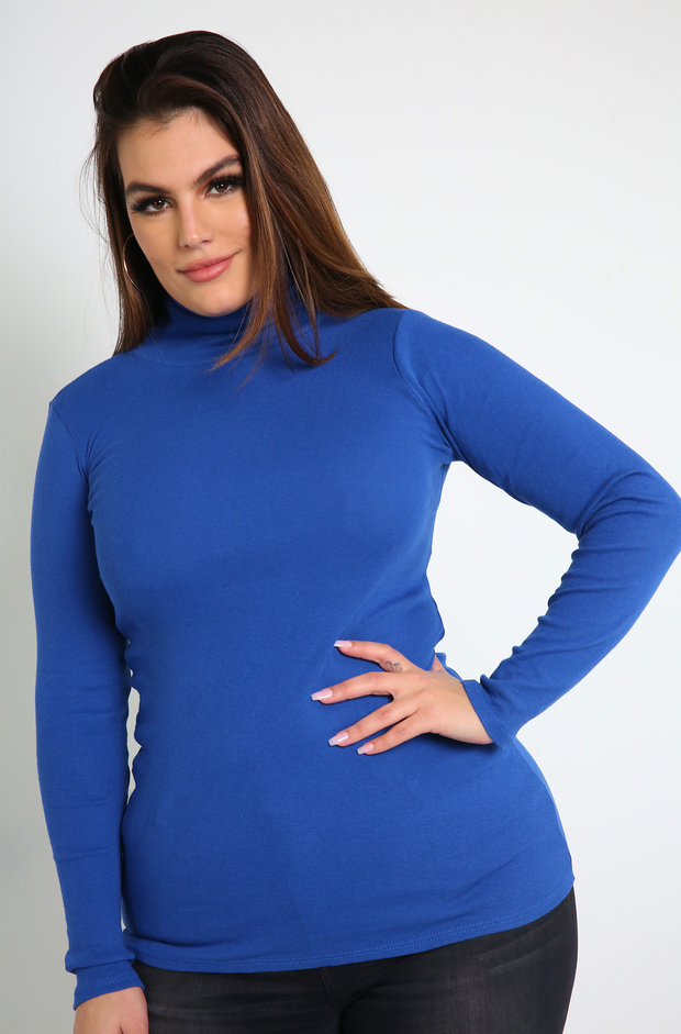 Royal Blue Turtleneck Top Plus Sizes