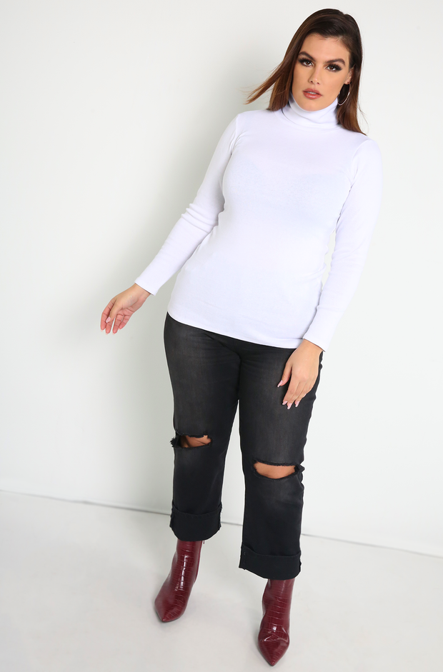 White Turtleneck Top Plus Sizes