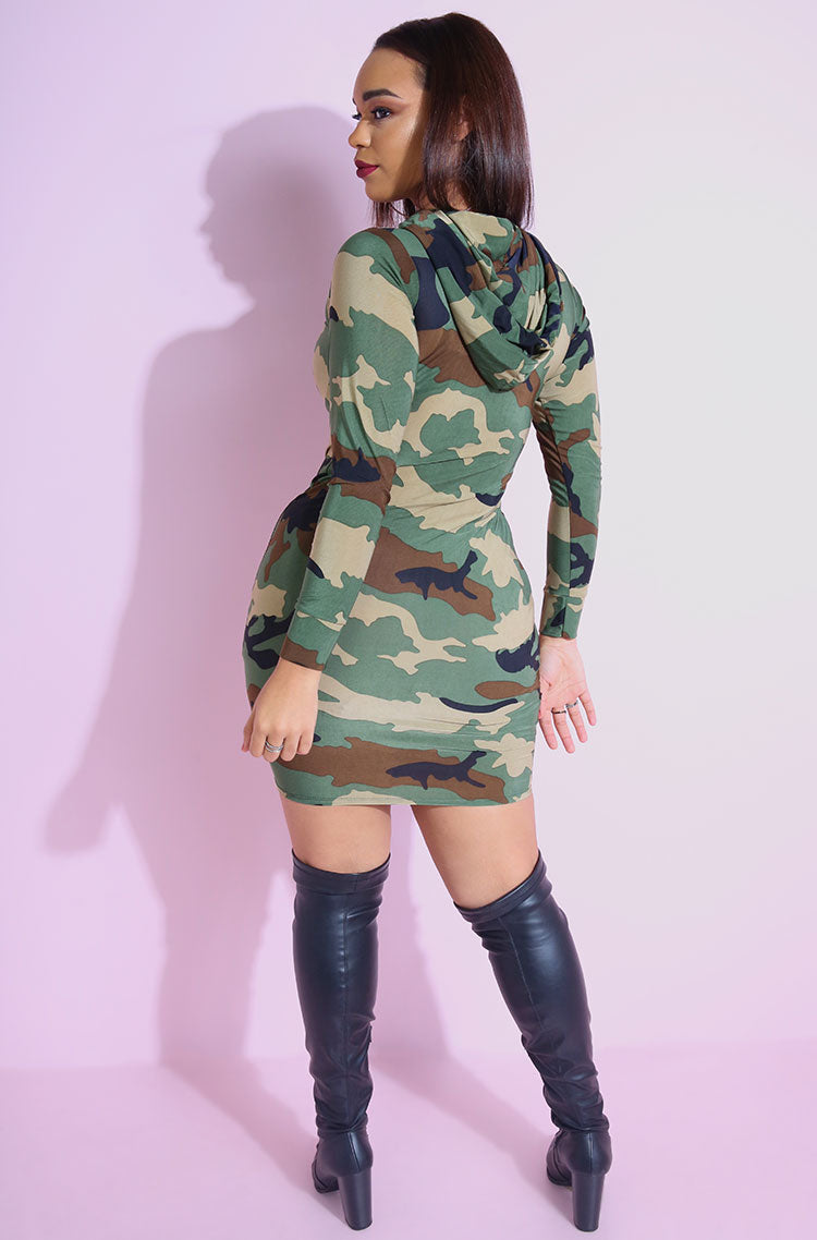 Olive Hooded Army Print Bodycon Mini Dress plus sizes