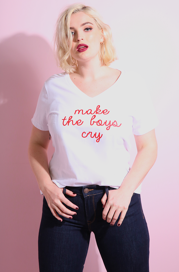 "Rebdolls ""Make Boys Cry"" V-Neck Short Sleeve T-Shirt"