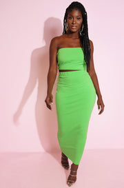 lime neon green tube top matching maxi skirt plus Sizes