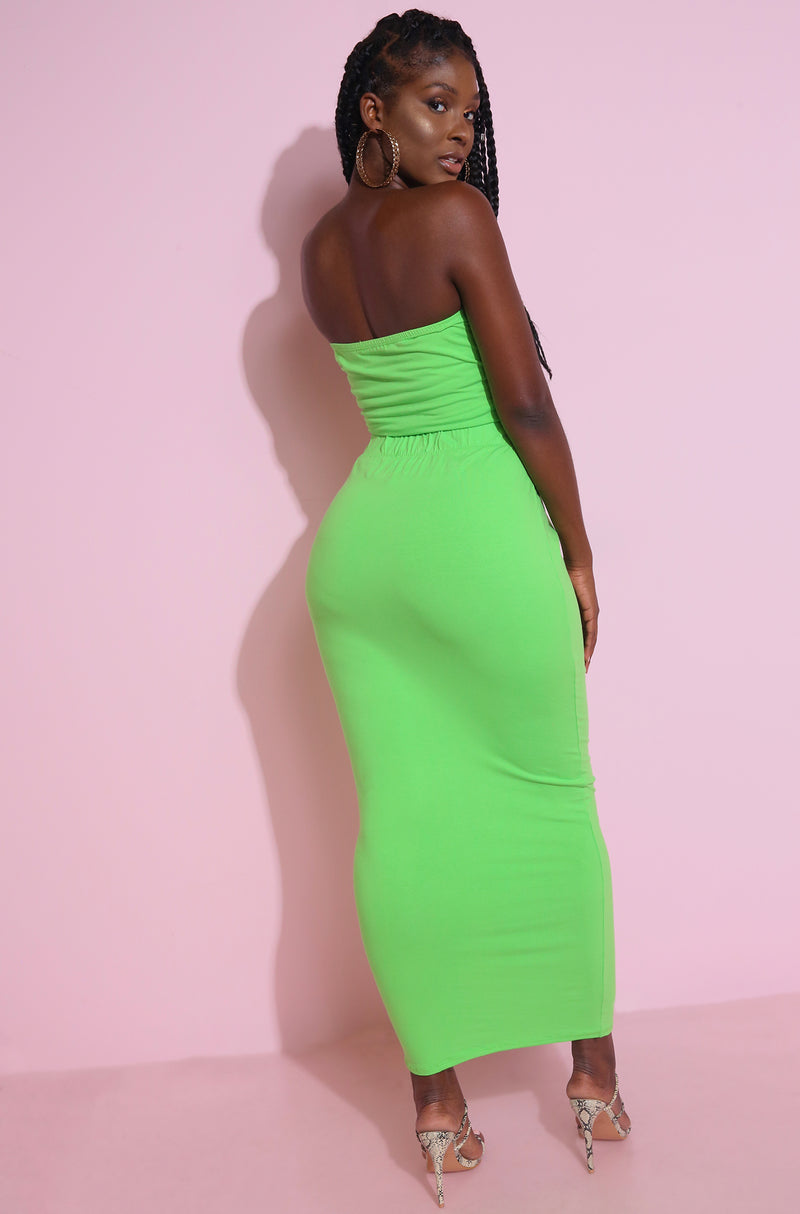 lime neon Bodycon Maxi Skirt plus Sizes