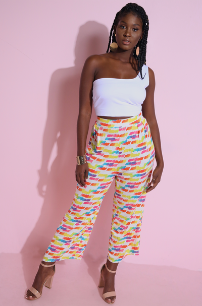 Colorful Yellow Wide Leg Culottes Plus Sizes