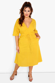 Mustard Plunge A-Line Midi Dress w. Belt Plus Sizes