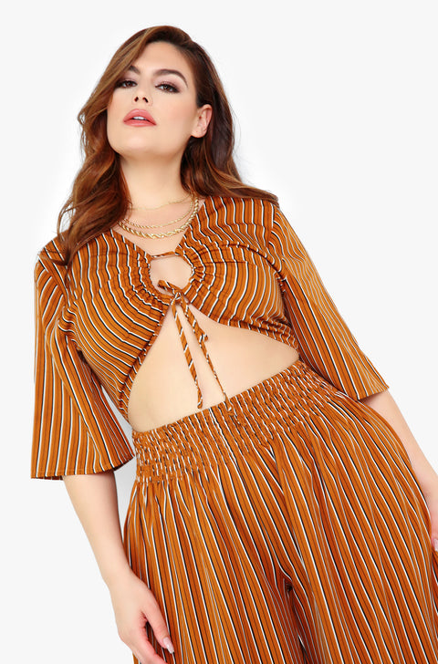 Brown Key Hole Jumper Plus Sizes