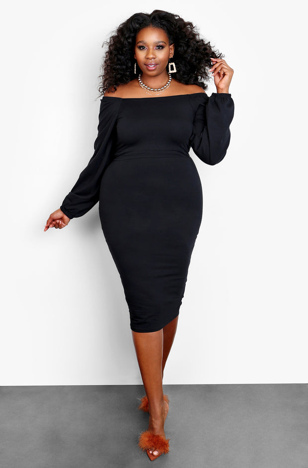 Black Over The Shoulder Long Puff Sleeve Mini Dress