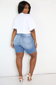 White Oversized Cropped T-Shirt Plus Sizes