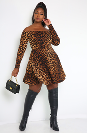 Brown Over The Shoulder Leopard Skater Mini Dress Plus Sizes