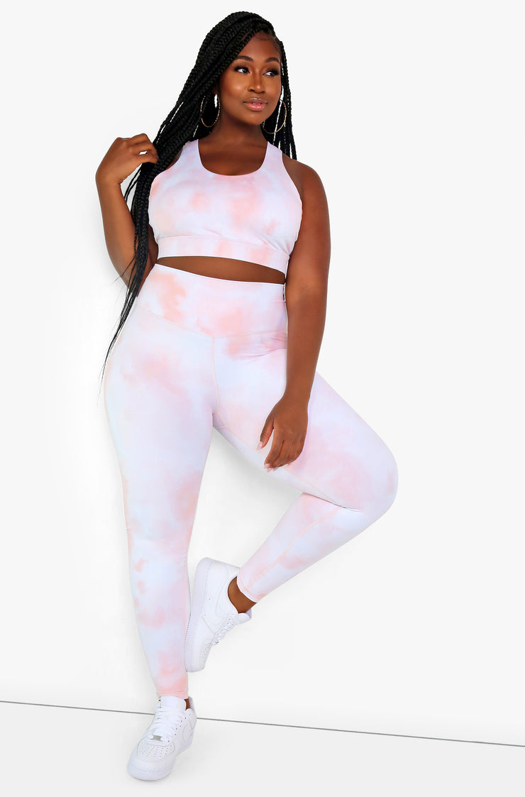 Light Pink Tie Dye High Waist Leggings Plus Sizes