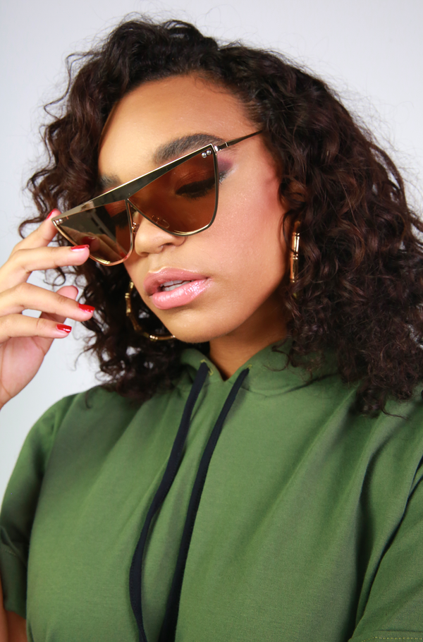 Brown Metal Statement Sunglasses