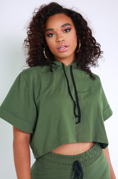 Olive Hooded Crop Top Plus Sizes