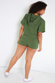 Olive Drawstring Booty Shorts Plus Sizes