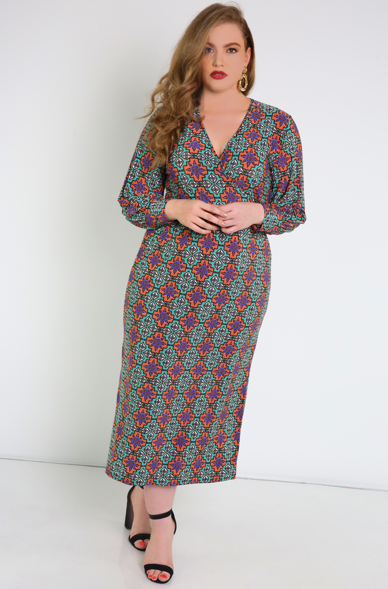 Purple Printed A-Line Maxi Dress Plus Sizes