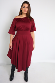 Burgundy Over The Shoulder Skater Midi Dress Plus Sizes