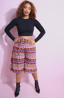 Red High Waist Culotte Pants Plus Sizes