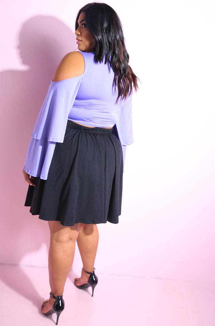 Lavender Double layered oversized cold shoulder sleeves crop top plus sizes