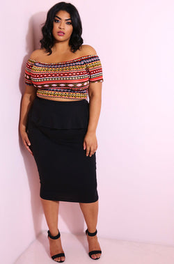 Burgundy Over The Shoulder Crop Top plus sizes
