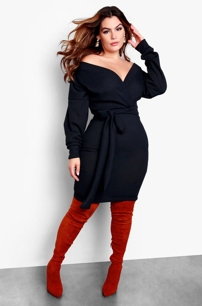 Black Plus Size Over The Shoulder Long Sleeve Tie Front Mini Dress