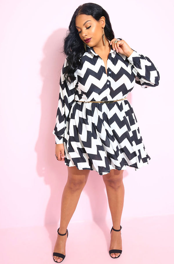 Black Chevron Skater Button Down Mini Dress plus sizes