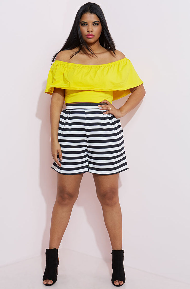 Yellow Ruffled Crop Top plus sizes