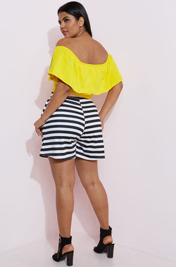 Black Striped Shorts With Pockets Plus Sizes