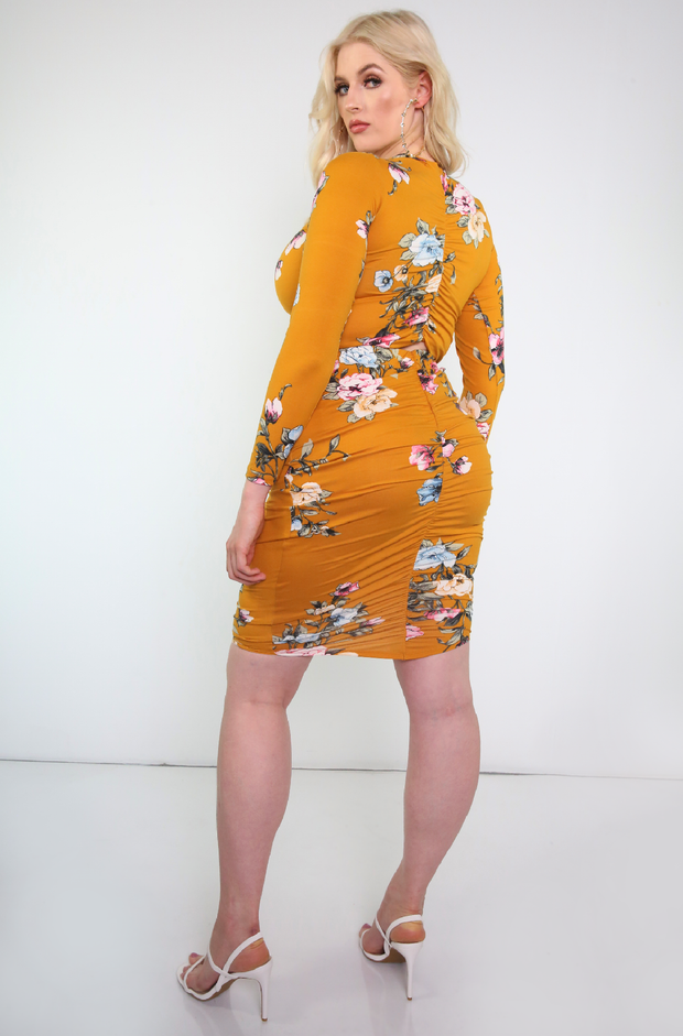 Mustard Floral Ruched Back Long Sleeve Crop Top Plus Sizes