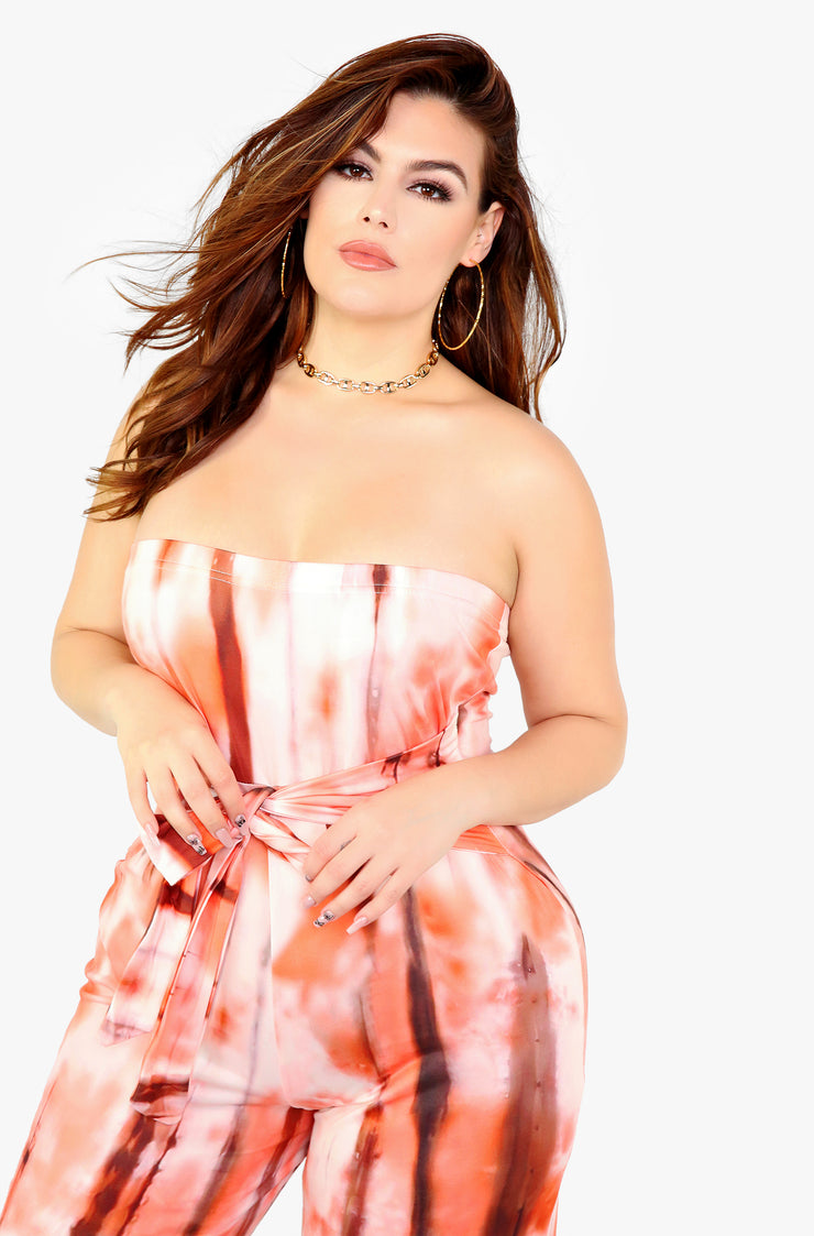 Orange Tie Dye Strapless Jumpsuit Plus Sizes