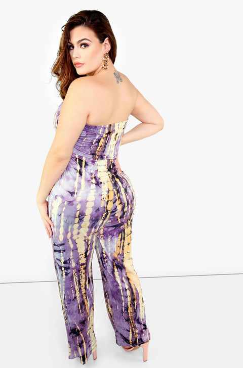 Purple Tie Dye Strapless Jumpsuit Plus Sizes