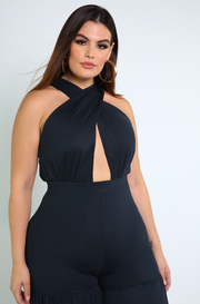 Black Crossover Ruffled Jumpsuit Plus Sizes