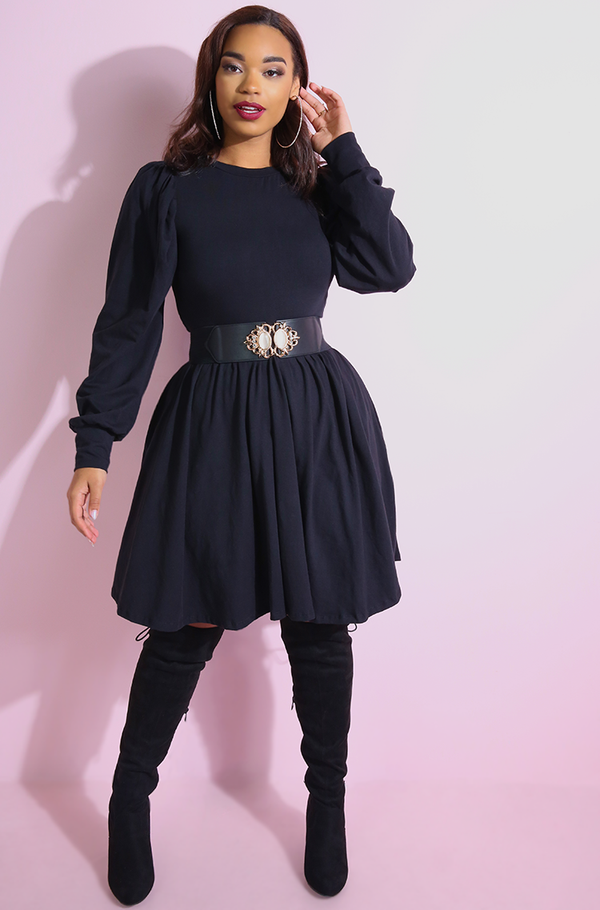 Black Cocktail dress Puff Sleeves Mini Skater Dress plus sizes