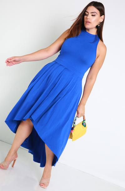 Royal Blue Pleated High Low Skater Maxi Dress Plus Sizes
