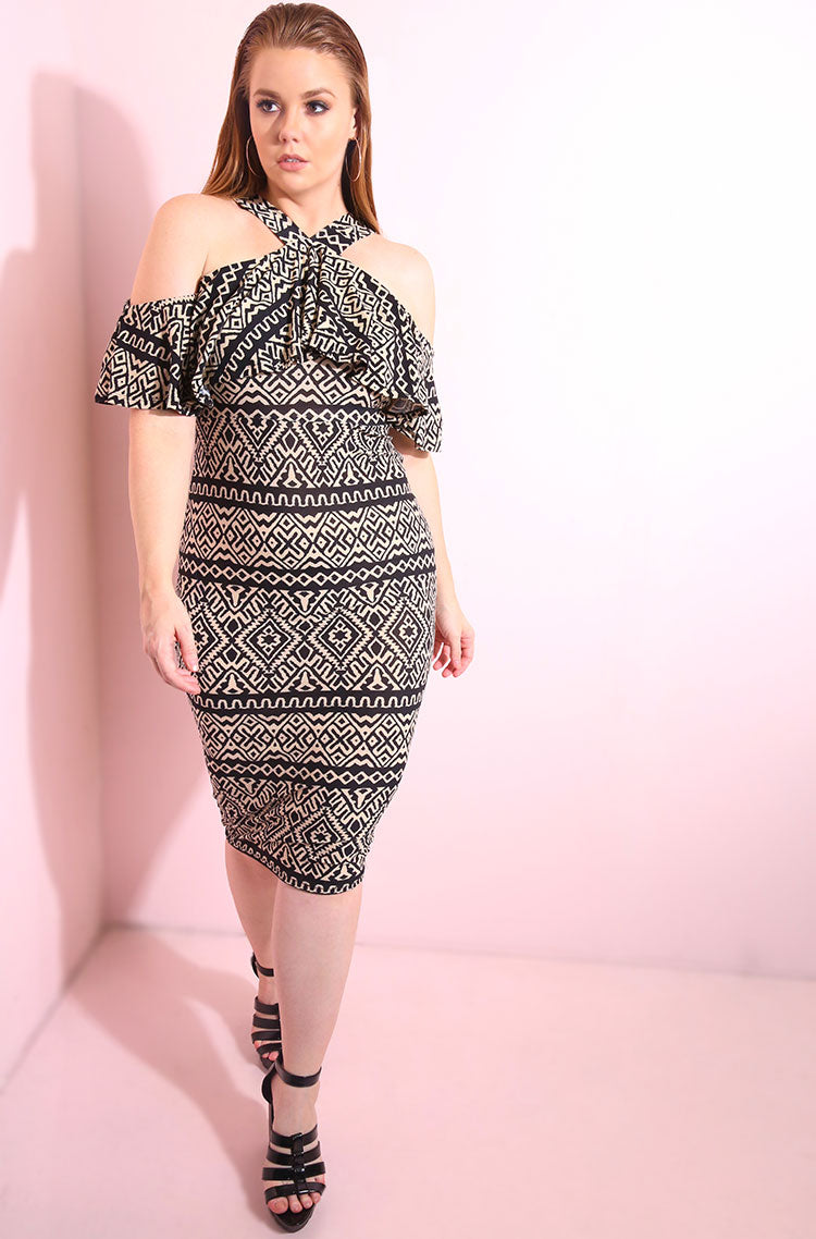 Black Ruffled, off the shoulder, aztec print body-con midi dress plus sizes