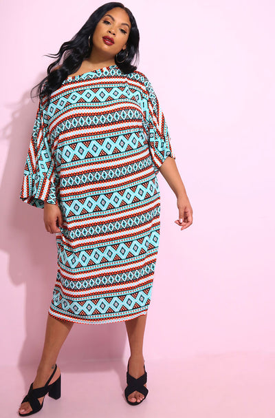 Blue Caftan Shift Midi Dress plus sizes