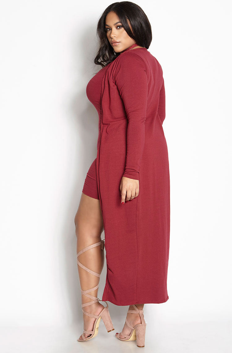 Burgundy Cardigan Tank Bodycon Mini Dress Set plus sizes