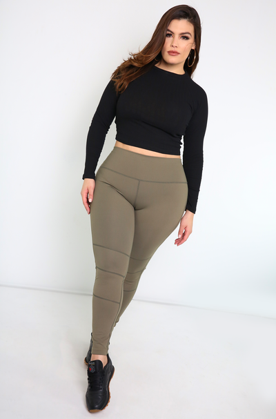 Olive High Waist Leggings PlUS Sizes
