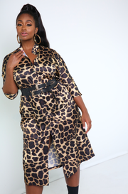 Gold  Cheetah Print Button Down Dress Plus Sizes