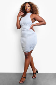 Gray Ruched Mini Dress Plus Sizes