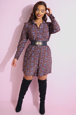 Brown Button Down Shift Mini Dress plus sizes