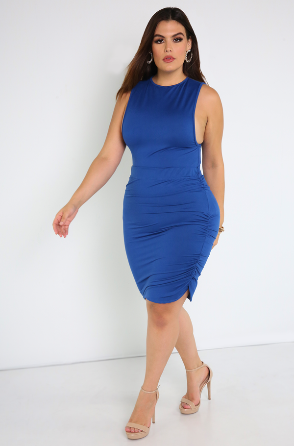 Royal Blue Ruched Mini Skirt Plus Sizes