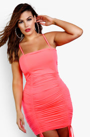 Neon Pink Bodycon Mini Dress Plus Sizes