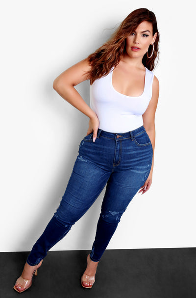 Indigo Mid Rise Skinny Jeans Plus Sizes