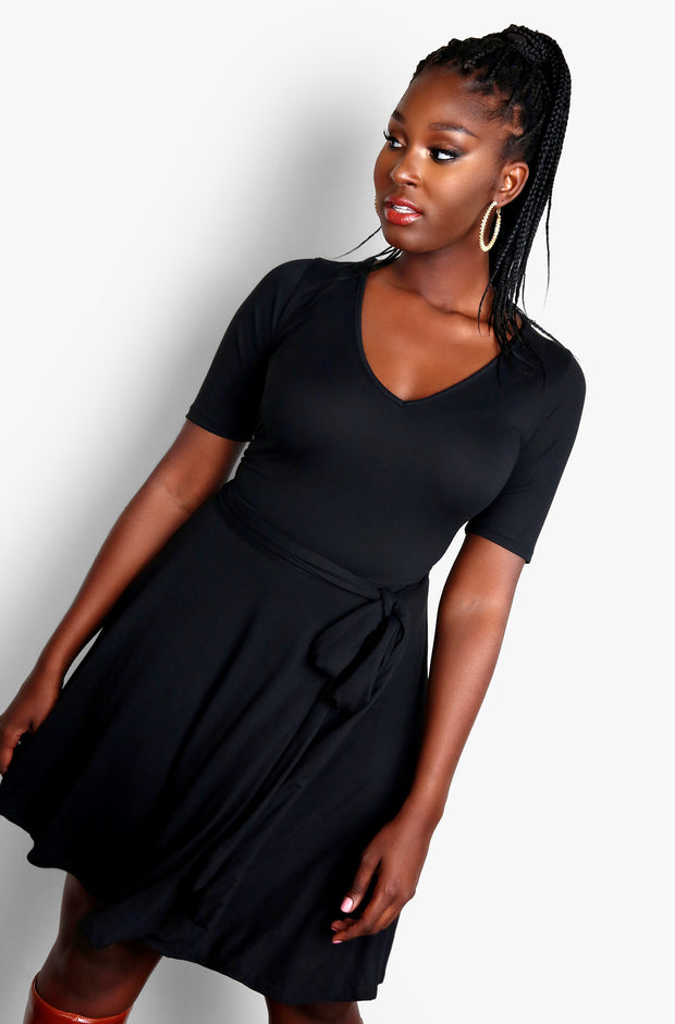 Black Waist Tie V-Neck Skater Mini Dress Plus Sizes